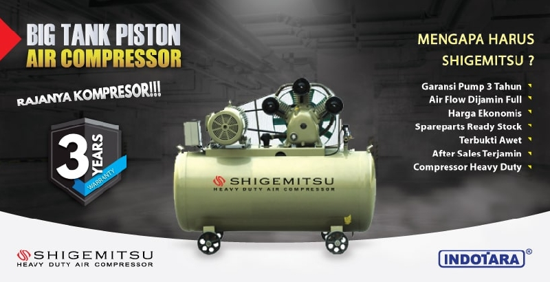 Garansi 3 Tahun Shigemitshu Big Tank Piston Air Compressor