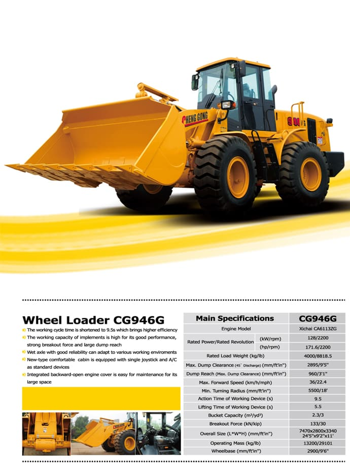 CG946G Wheel Loader Spec