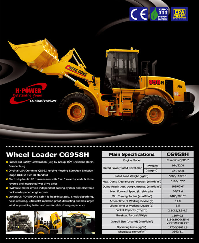 CG958H Wheel Loader Spec