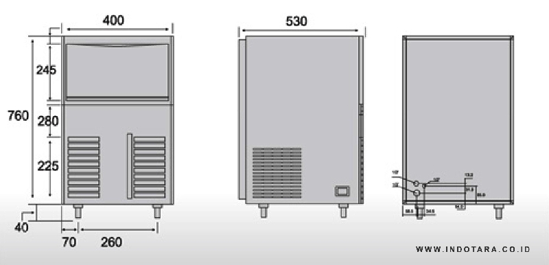 Tomori Ice Maker EC 65 Dimension