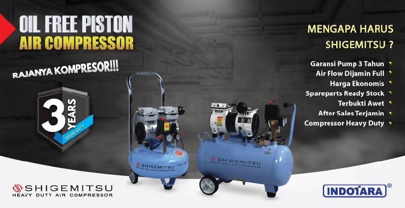 Garansi 3 Tahun Shigemitshu Oil Free Piston Air Compressor