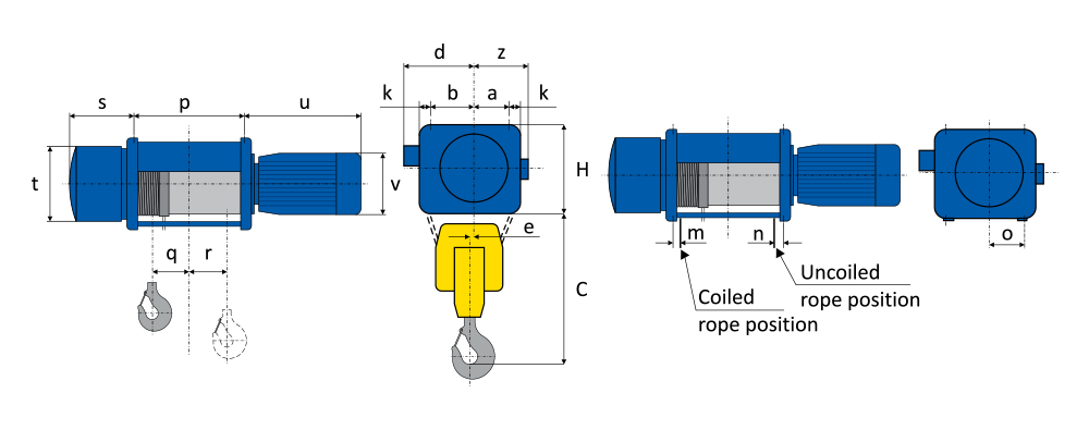 Spesifikasi Wire Rope Hoist Foot Mounted