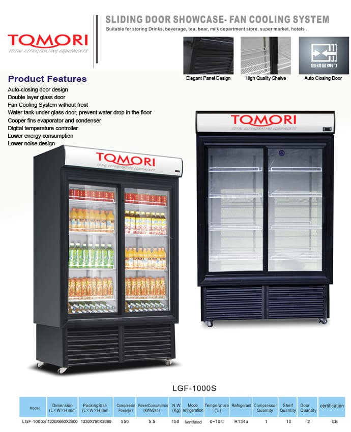 Tomori Sliding Door Showcase Cooler