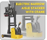 Electric Narrow Aisle Stacker With Crane