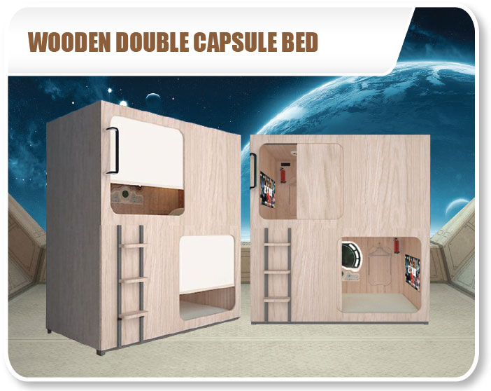 Wooden Double Capsule Bed