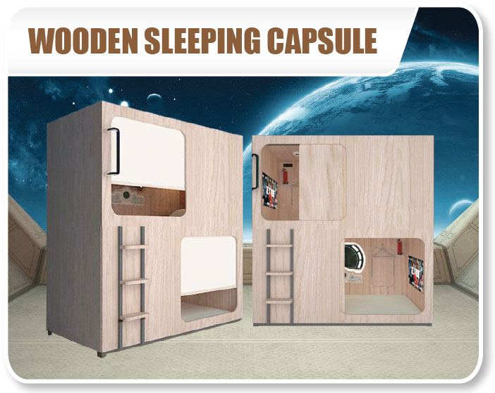 Wooden Capsule Sleeping Bed